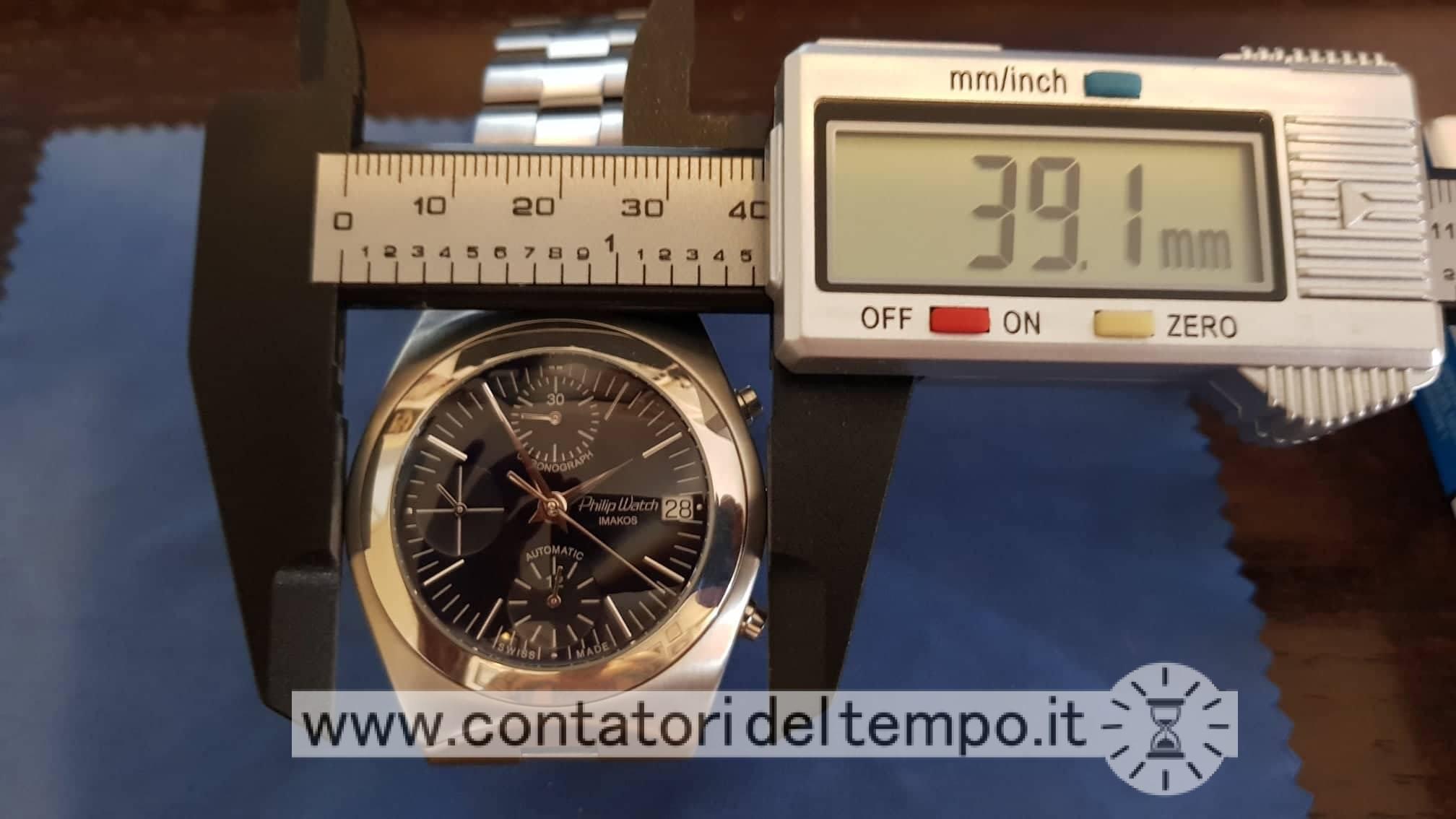 Misurazione del diametro cassa dell'Philip Watch Imakos