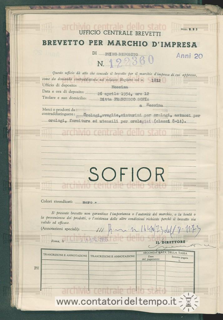 Documento ufficiale del Registro Brevetti. Il marchio Sofior Grey risulta depositato il 26 Aprile 1954