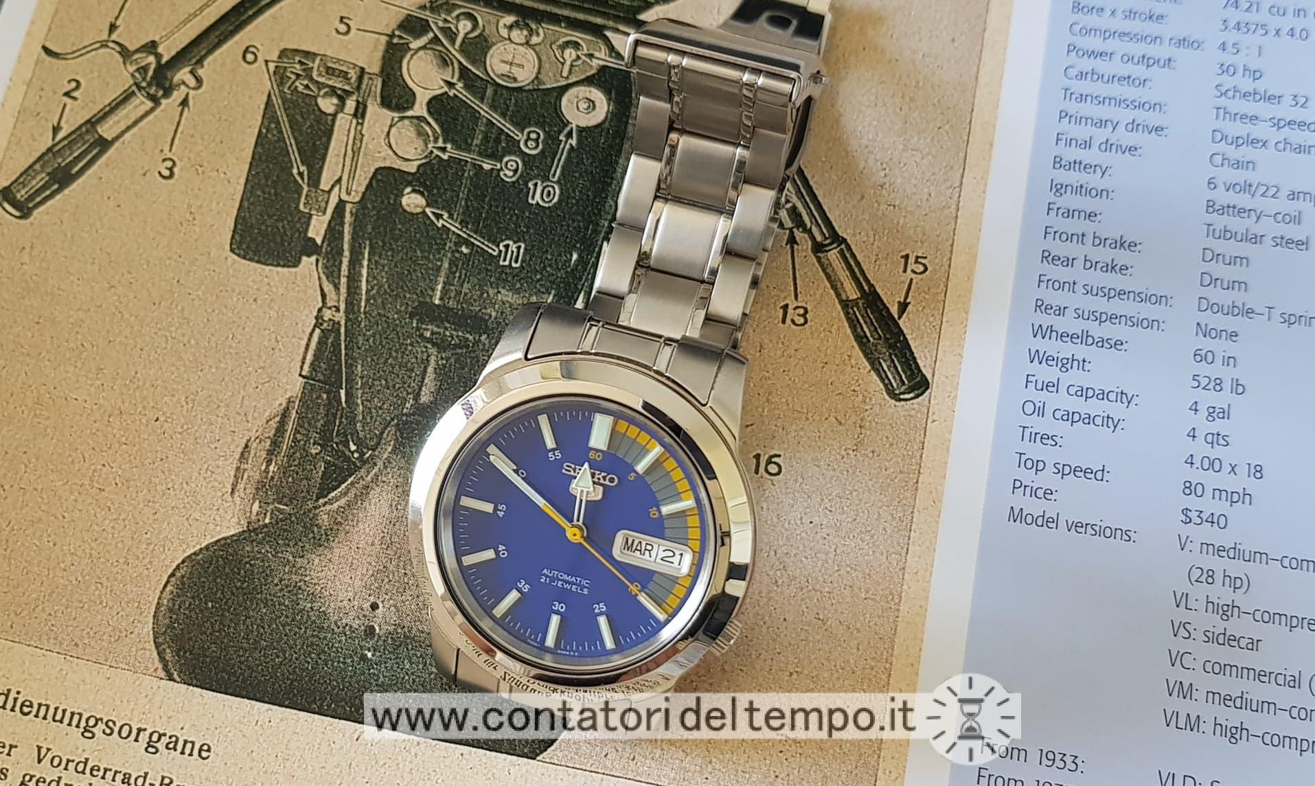 Una panoramica dell'orologio e del quadrante blu