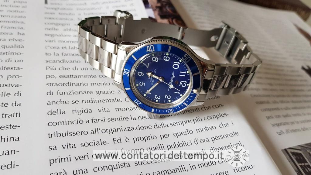 Vostok Amphibia ref. 120812, quadrante blu e ghiera aftermarket