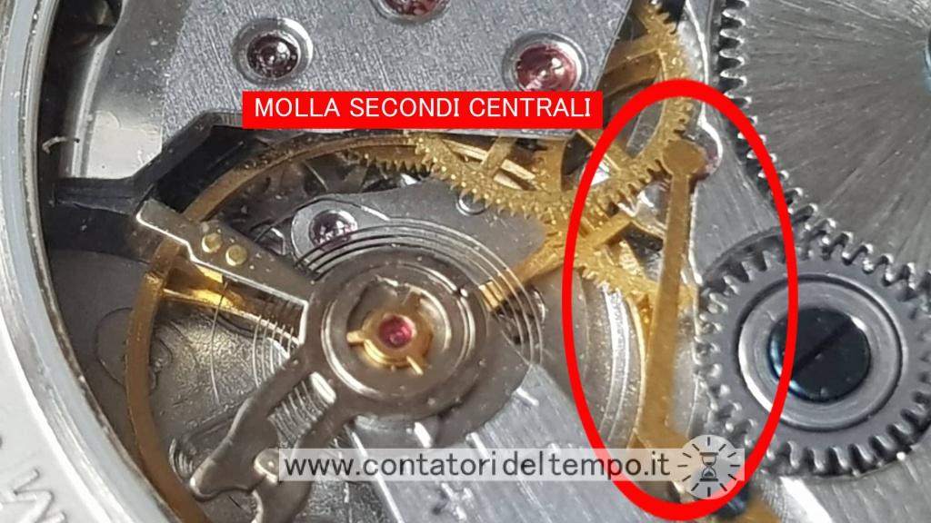 Dettaglio del calibro 2409A dove si può notare la linguetta (molla) che tiene in posizione la sfera secondi